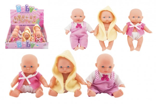 Miminko panenka pevné tělo plast 12cm 3druhy 9ks v boxu