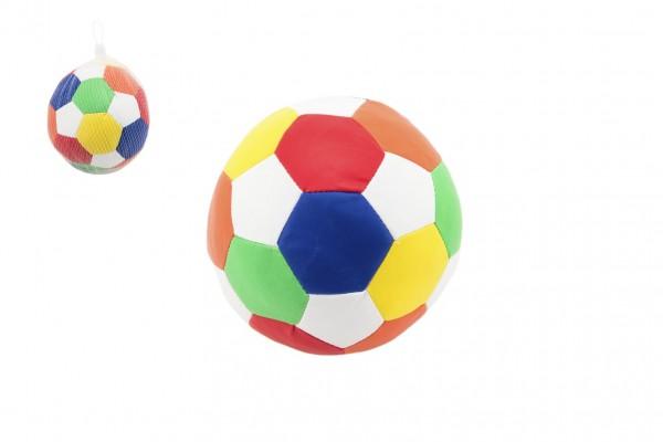 Míč fotbalový barevný měkký koženkový průměr 15cm v síťce