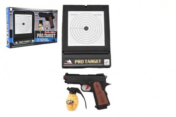 Pistole  plast na kuličky 6mm s terčem v krabici 45x29x5cm