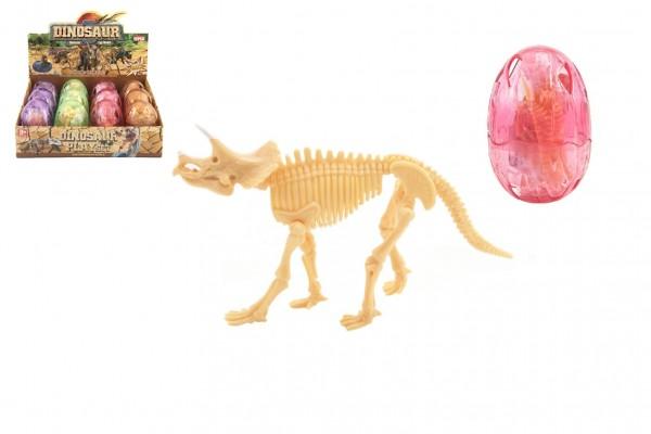 Fosilie Dinosaurus ve vajíčku plast 9cm 4 barvy 12ks v boxu