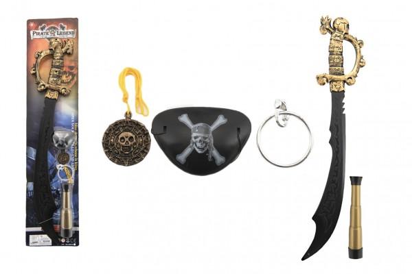 Pirátská sada meč s doplňky plast 58cm na kartě