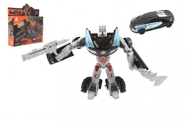 Transformer auto/robot plast s doplňky 10cm 6 barev v krabici 23x22x6cm