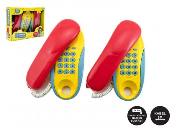 Telefony pokoj - pokoj plast na baterie 2ks vzdálenost 8m v krabici 30x24x7cm