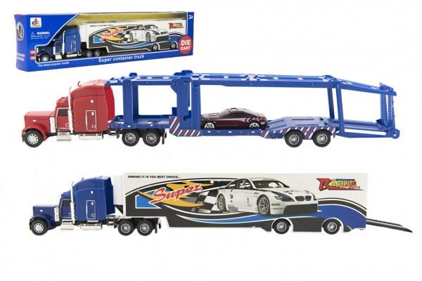 Kamion s návěsem 37cm kov/plast 2 druhy v krabičce 40x10x5cm