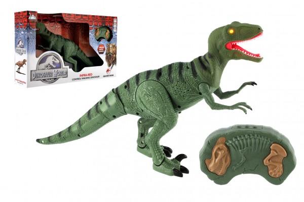 Dinosaurus chodící IC velociraptor plast 50cm na baterie se zvukem se světlem v krabici 53x32,5x12cm
