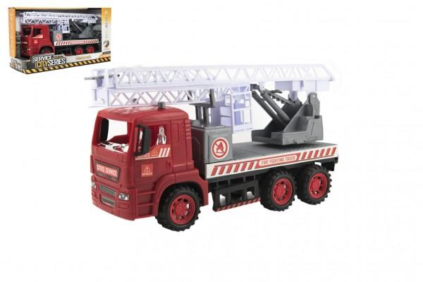 Auto hasiči s plošinou plast 35cm na setrvačník v krabici 37x21x14cm