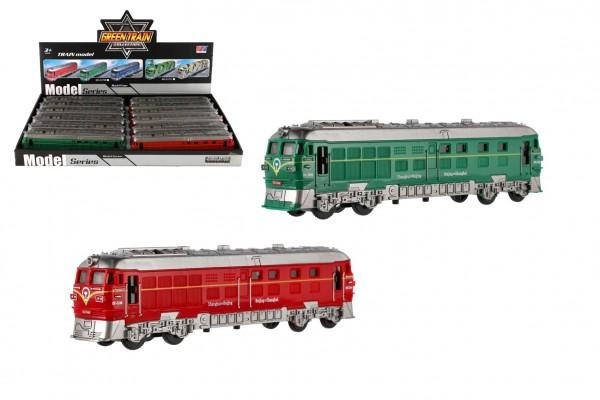 Vlak/Lokomotiva plast 23cm na setrvačník na baterie se zvukem se světlem 3 barvy 12ks v boxu
