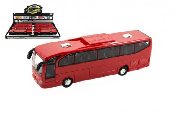Autobus červený plast 23cm na setrvačník na baterie se zvukem se světlem 6ks v boxu