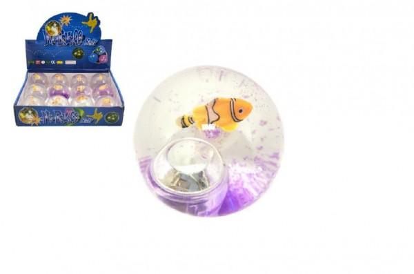Míček/hopík ryba svítící 7cm asst v sáčku 12ks v boxu