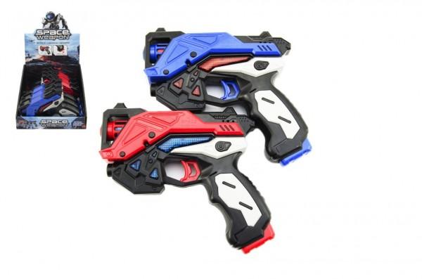 Pistole vesmírná plast 15cm na baterie se zvukem se světlem asst 2 barvy 6ks v boxu