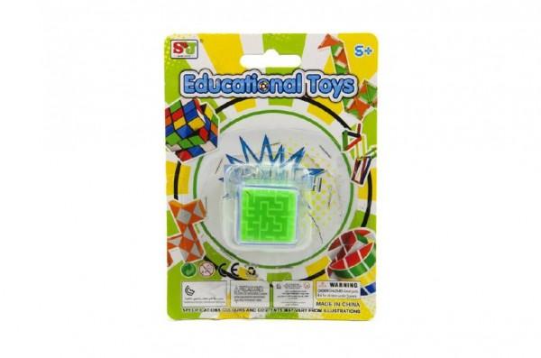 Hlavolam kostka přívěšek plast 3x3cm asst 3 barvy na kartě
