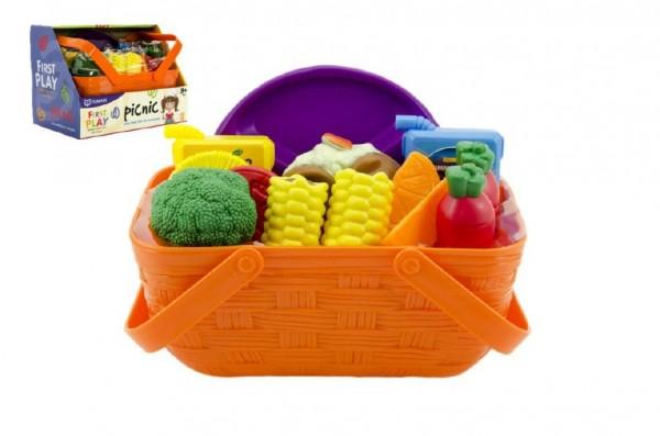 Zelenina/ovoce a potraviny v košíku piknik plast 14ks v krabici 23x17x15cm