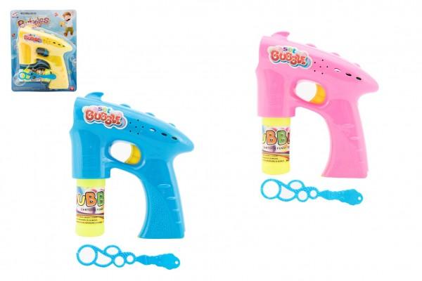 Bublifuk pistole plast 13cm + 2x náplň na baterie asst 3 barvy na kartě