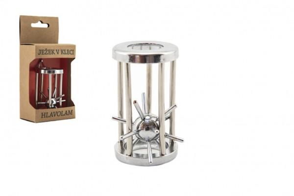 Hlavolam ježek v kleci kovový chromovaný 4x7cm v krabičce 8x16x5cm