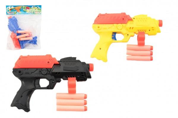Pistole na pěnové náboje 3ks plast 17cm 3 barvy v sáčku