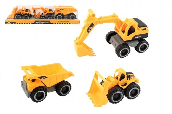 Stavební stroje 3ks plast na volný chod v blistru 60x13x13cm