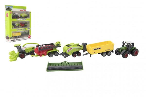 Sada farma zemědělské stroje s příslušenstvím kov/plast mix druhů v krabici 21x27x6cm