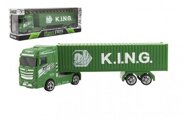 Kamion s kontejnerem plast 30cm na setrvačník na baterie se světlem se zvukem v krabici 35x13x9cm
