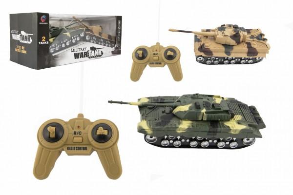 Tank RC 2ks 25cm plast tanková bitva na baterie se zvukem se světlem v krabici 43x17x19cm