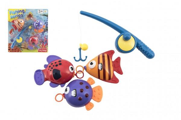 Hra ryby/rybář s prutem 20cm plast na kartě 26x29cm