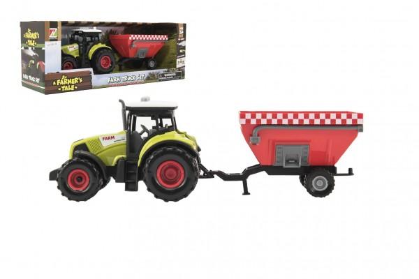 Traktor s vlekem plast 28cm na setrvačník na baterie se zvukem se světlem v krabici 34x13x11cm