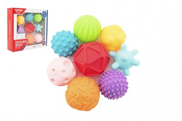 Sada míčků 9ks s texturou gumové 6-7cm v krabici 29x26x7cm 6m+
