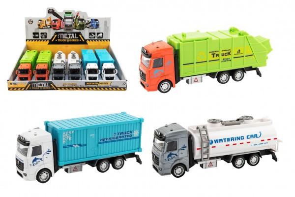 Kamion kov/plast 20-23cm na zpětné natažení 3 druhy 6ks v boxu
