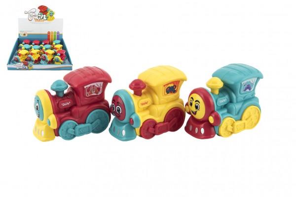 Vlak/mašinka plast 8cm pro nejmenší na setrvačník 3 barvy 12ks v boxu 18m+