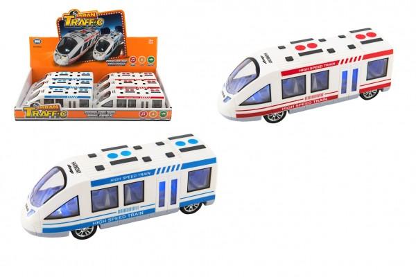 Metro/vlak/tramvaj plast 21cm na baterie se světlem se zvukem 2 barvy na setrvačník 6ks v boxu