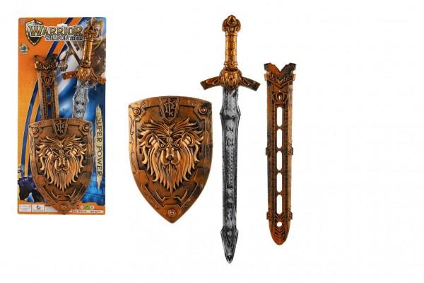 Meč se štítem a pouzdrem plast 55cm na kartě 25x57cm