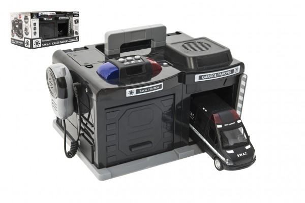 Garáž policie/swat + auto 15 cm na baterie se světlem se  zvukem v krabici 37x20x24,5cm