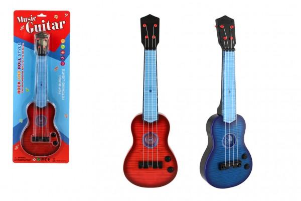 Kytara plast 41cm na baterie se zvukem se světlem 2 barvy na kartě