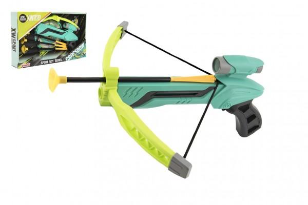 Pistole/kuše s lukem na přísavky plast 25cm + šípy 3ks v krabici 36x21x5cm