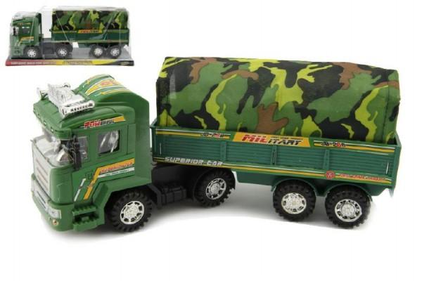 Auto vojenské plast 31cm na setrvačník v krabici