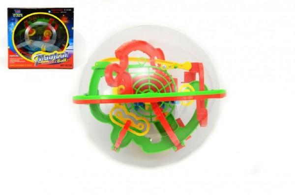 Hlavolam Bludiště koule 3D 100 kroků plast 17cm v krabici