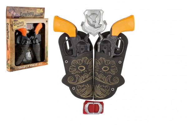 Pistole/kolt s pouzdrem 2ks kovbojská sada plast 16cm 2ks s doplňky v krabici