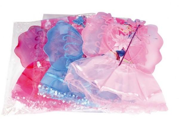 Křídla víla karneval se sukní, čelenkou a hůlkou asst 3 barvy v sáčku 50x53cm
