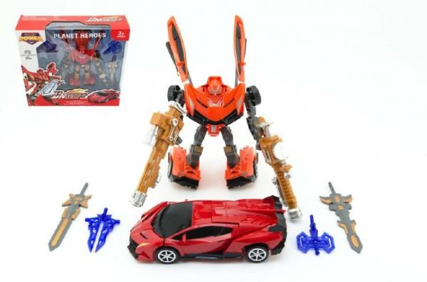 Transformer robot/auto 25cm asst 2 barvy v krabici 34x33x10cm