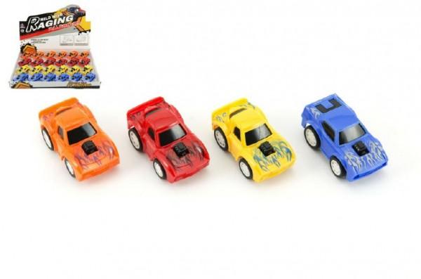 Auto/Autíčko plast 6cm na zpětné natažení asst 4 barvy 24ks v boxu
