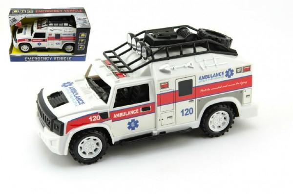 Auto ambulance plast 25cm na setrvačník na baterie se zvukem se světlem v krabici