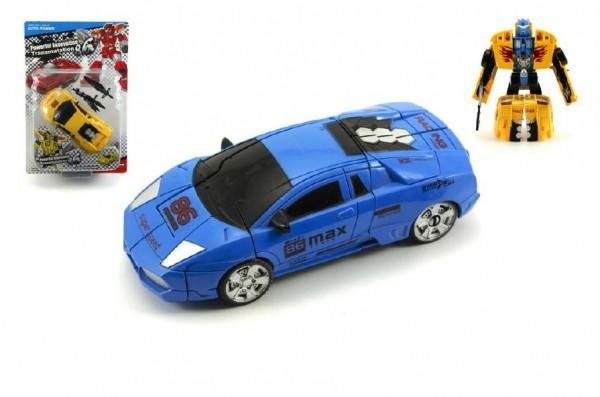 Transformer auto/robot s doplňky plast 16cm na kartě