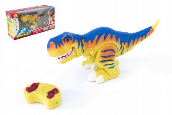 Dinosaurus chodící RC tyranosaurus plast 38cm na baterie se zvukem se světlem 2,4GHz v krabici