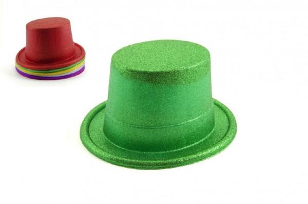 Klobouk/cylindr se třpytkami plast 14cm asst 6 barev  karneval
