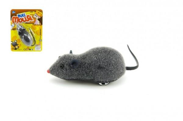 Myš plast 10cm na zpětné natažení na kartě