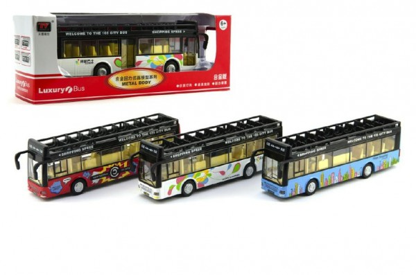 Autobus kov 21cm na baterie se zvukem se světlem asst 3 barvy v krabičce