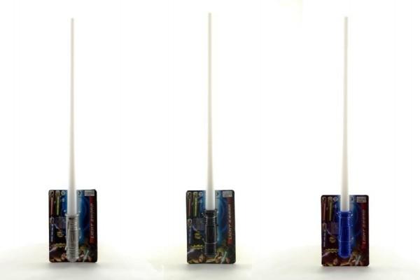 Meč se zvukem plast 50cm asst 3 barvy na baterie se světlem se zvukem na kartě