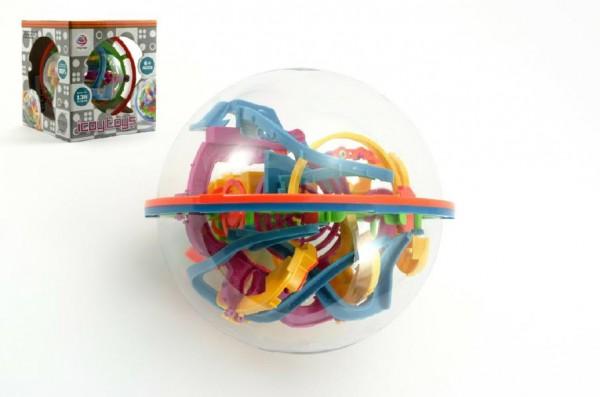 Hlavolam Bludiště 3D koule 138 kroků plast 17cm v krabici