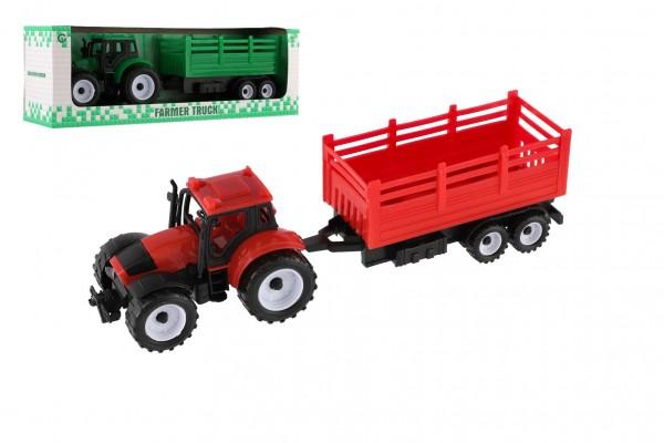 Traktor s přívěsem plast 28cm - červený
