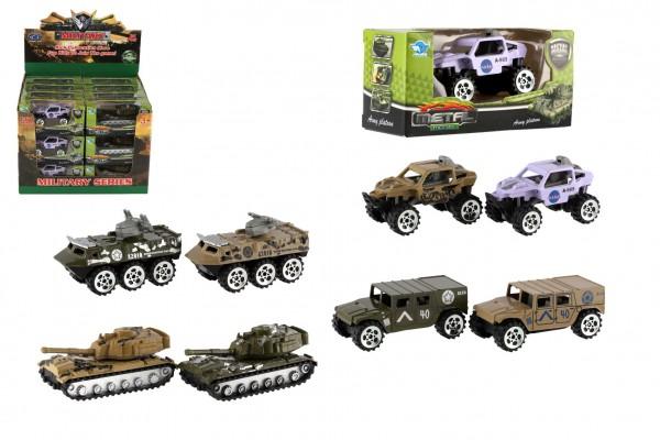 Tank/Auto vojenské/Obrněný transportér kov 7cm asst 24ks v boxu