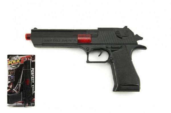 Pistole jiskřící plast 26cm na setrvačník na kartě